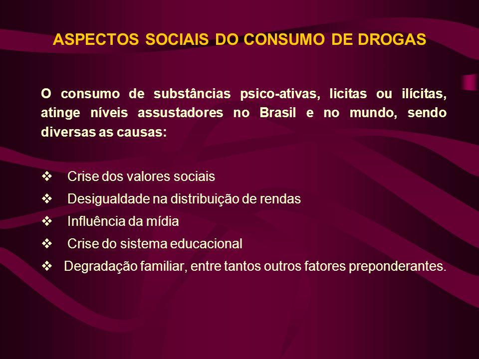 ASPECTOS SOCIAIS DO CONSUMO DE DROGAS O consumo de substâncias psico-ativas, licitas ou ilícitas, atinge níveis assustadores no Brasil e no mundo, sen
