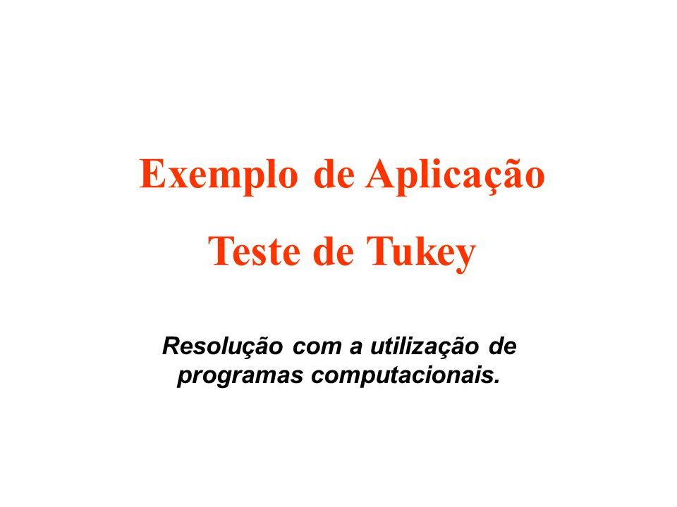 Exemplo de Aplicação Teste de Tukey Resolução com a utilização de programas computacionais.