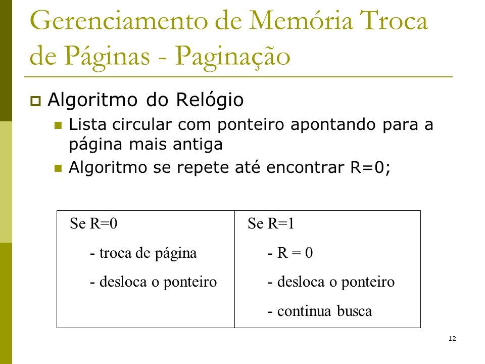 12 Gerenciamento de Memória Troca de Páginas - Paginação Algoritmo do Relógio Lista circular com ponteiro apontando para a página mais antiga Algoritmo se repete até encontrar R=0; Se R=0 - troca de página - desloca o ponteiro Se R=1 - R = 0 - desloca o ponteiro - continua busca