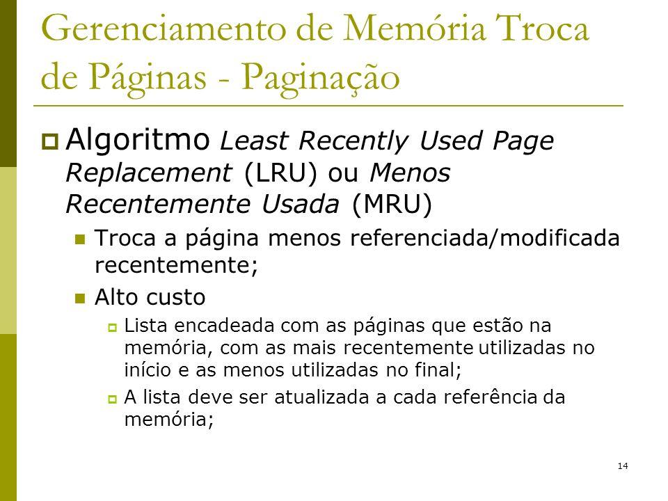 14 Gerenciamento de Memória Troca de Páginas - Paginação Algoritmo Least Recently Used Page Replacement (LRU) ou Menos Recentemente Usada (MRU) Troca