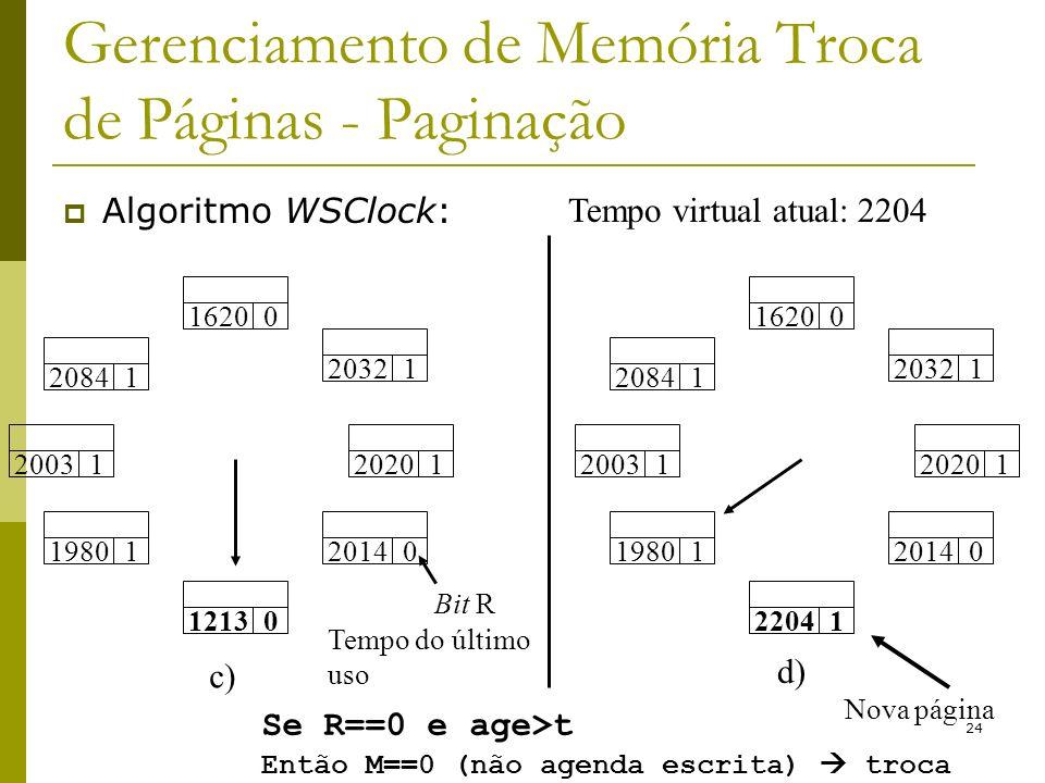 24 Gerenciamento de Memória Troca de Páginas - Paginação Algoritmo WSClock: Tempo virtual atual: 2204 Tempo do último uso 20031 20841 16200 20321 19801 12130 20140 20201 Bit R c) 20841 16200 20321 20031 19801 22041 20140 20201 d) Nova página Se R==0 e age>t Então M==0 (não agenda escrita) troca