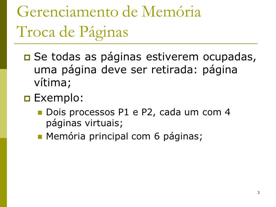 3 Gerenciamento de Memória Troca de Páginas Se todas as páginas estiverem ocupadas, uma página deve ser retirada: página vítima; Exemplo: Dois processos P1 e P2, cada um com 4 páginas virtuais; Memória principal com 6 páginas;
