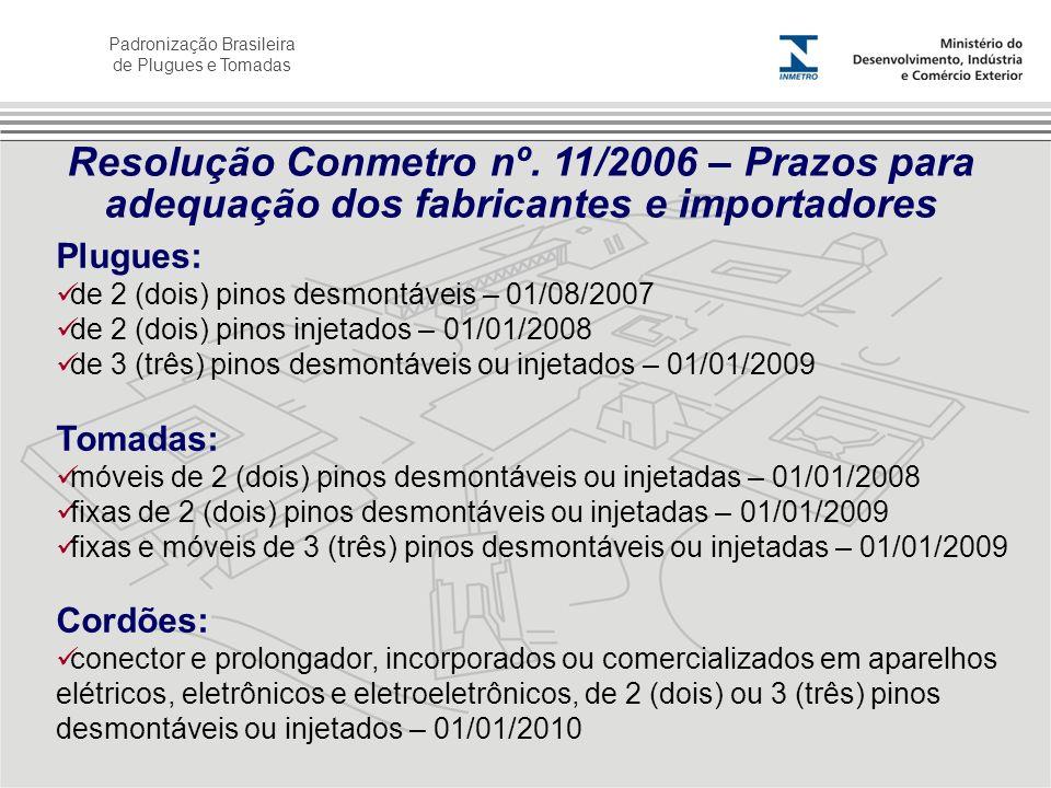 Padronização Brasileira de Plugues e Tomadas Plugues: de 2 (dois) pinos desmontáveis – 01/08/2007 de 2 (dois) pinos injetados – 01/01/2008 de 3 (três)