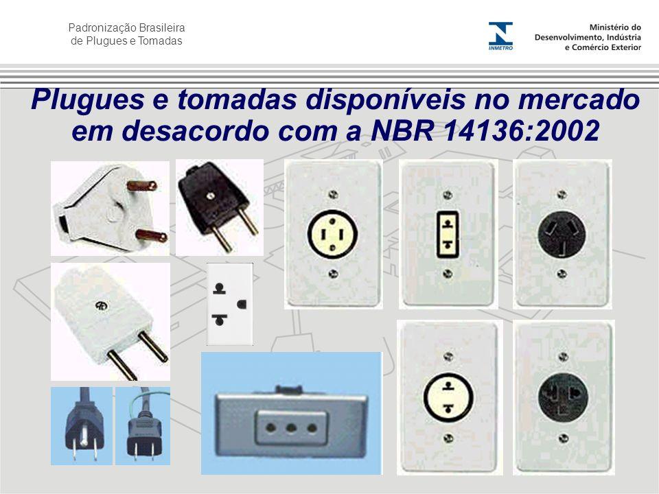 Padronização Brasileira de Plugues e Tomadas Plugues e tomadas disponíveis no mercado em desacordo com a NBR 14136:2002
