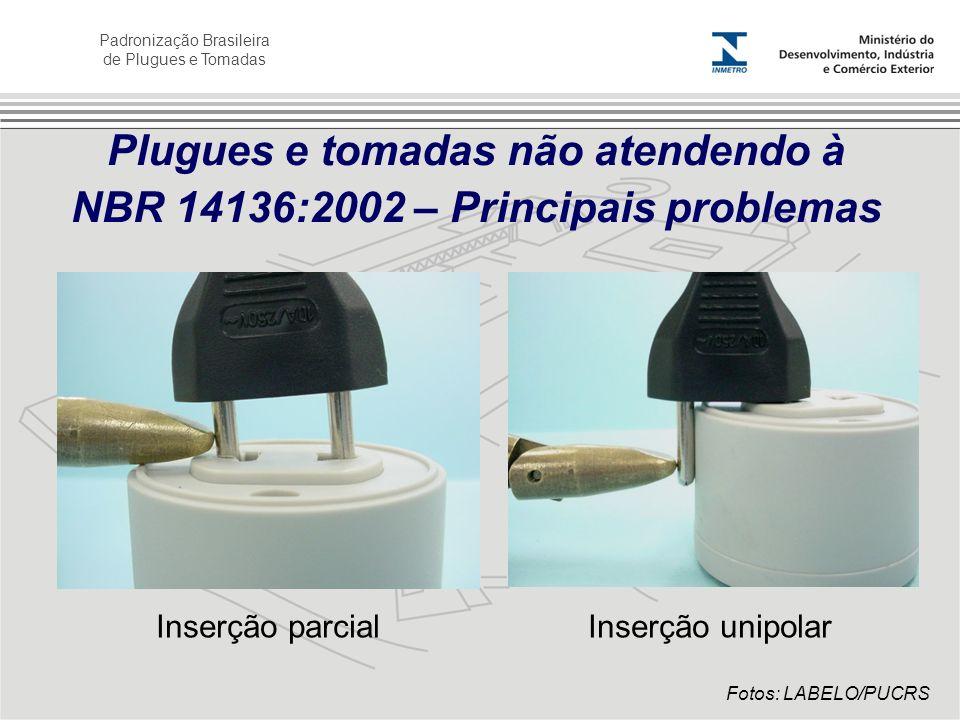 Padronização Brasileira de Plugues e Tomadas Plugues e tomadas não atendendo à NBR 14136:2002 – Principais problemas Inserção parcialInserção unipolar
