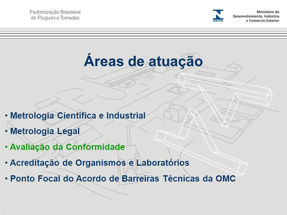 Padronização Brasileira de Plugues e Tomadas Áreas de atuação Metrologia Científica e Industrial Metrologia Legal Avaliação da Conformidade Acreditaçã