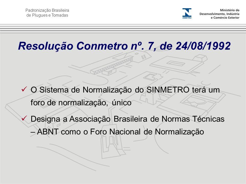 Padronização Brasileira de Plugues e Tomadas Resolução Conmetro nº. 7, de 24/08/1992 O Sistema de Normalização do SINMETRO terá um foro de normalizaçã
