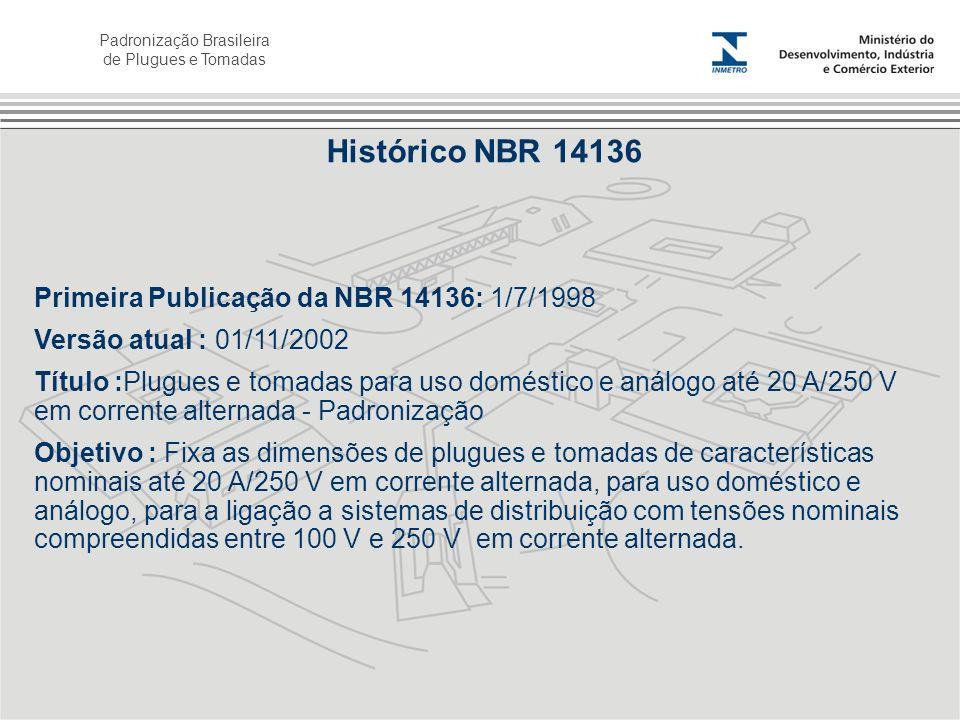 Padronização Brasileira de Plugues e Tomadas Primeira Publicação da NBR 14136: 1/7/1998 Versão atual : 01/11/2002 Título :Plugues e tomadas para uso d
