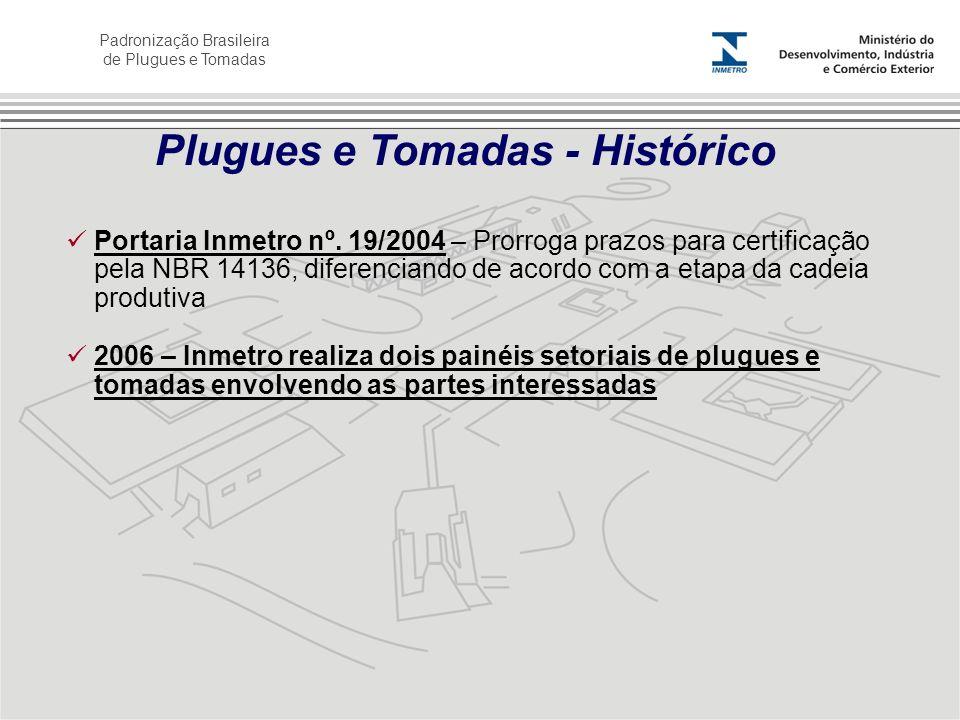 Padronização Brasileira de Plugues e Tomadas Portaria Inmetro nº. 19/2004 – Prorroga prazos para certificação pela NBR 14136, diferenciando de acordo