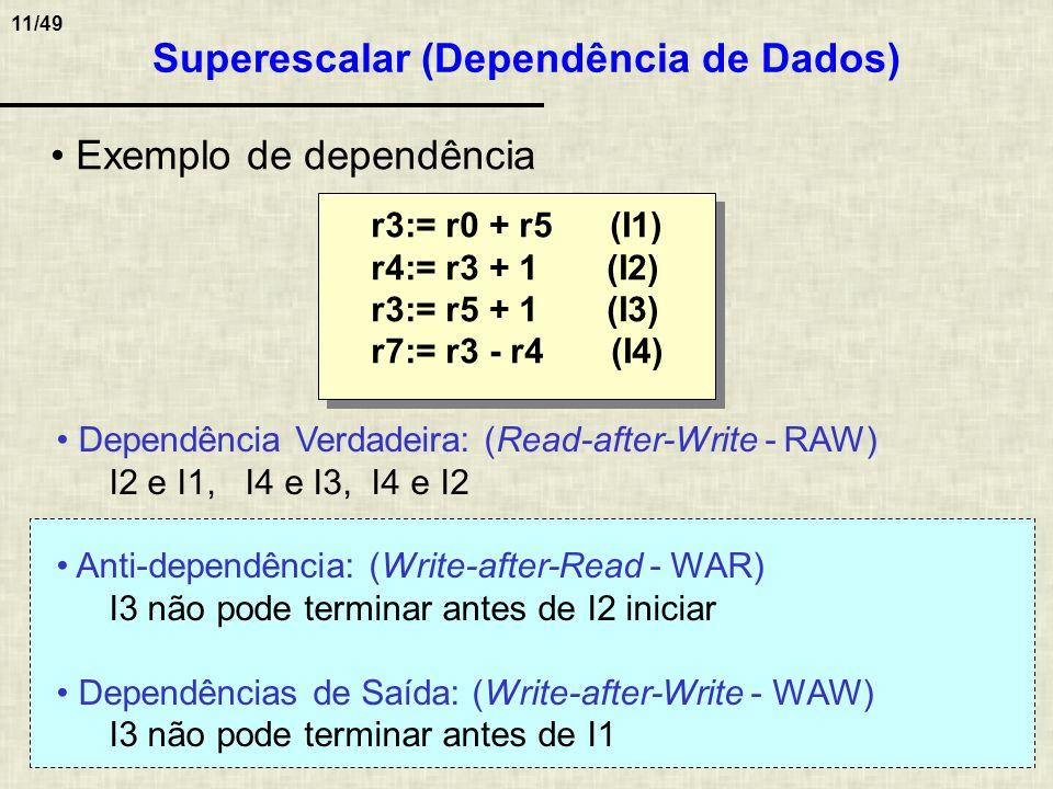11/49 Superescalar (Dependência de Dados) Dependência Verdadeira: (Read-after-Write - RAW) I2 e I1, I4 e I3, I4 e I2 Anti-dependência: (Write-after-Re