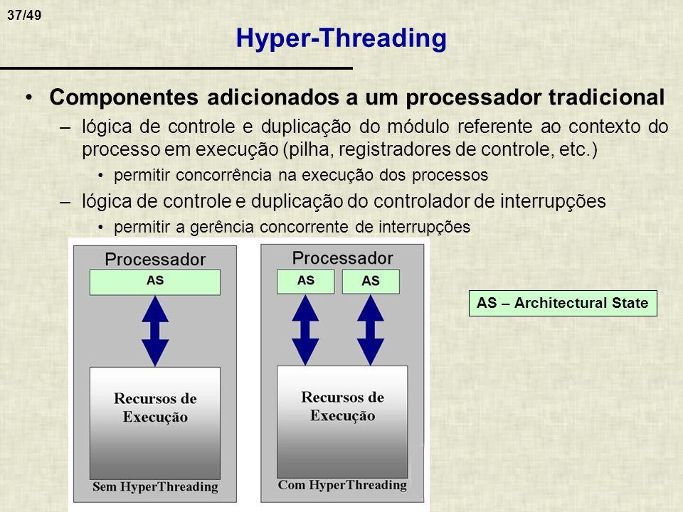 37/49 Hyper-Threading Componentes adicionados a um processador tradicional –lógica de controle e duplicação do módulo referente ao contexto do process
