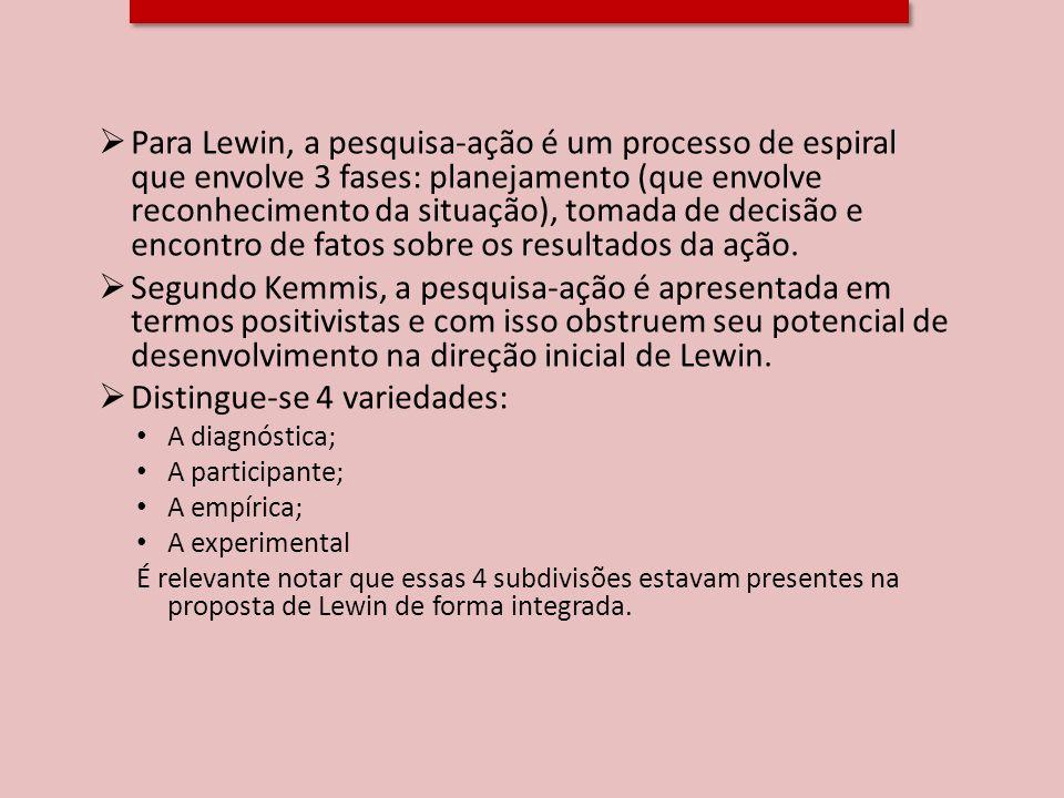 Para Lewin, a pesquisa-ação é um processo de espiral que envolve 3 fases: planejamento (que envolve reconhecimento da situação), tomada de decisão e e