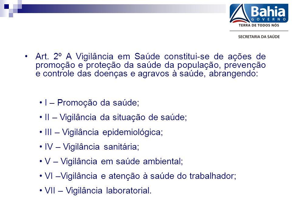Art. 2º A Vigilância em Saúde constitui-se de ações de promoção e proteção da saúde da população, prevenção e controle das doenças e agravos à saúde,