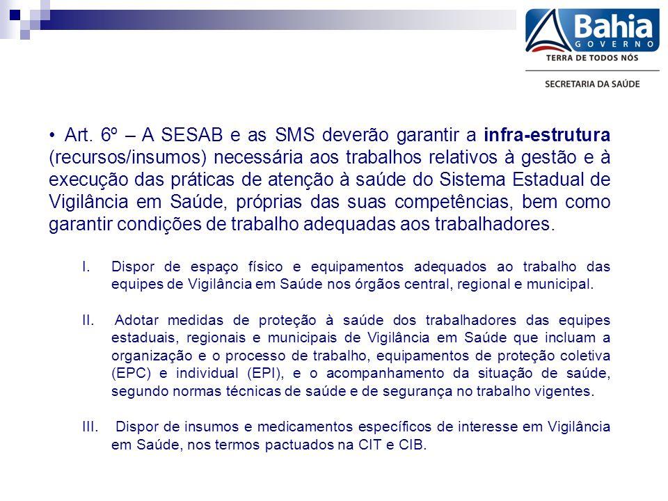 Art. 6º – A SESAB e as SMS deverão garantir a infra-estrutura (recursos/insumos) necessária aos trabalhos relativos à gestão e à execução das práticas