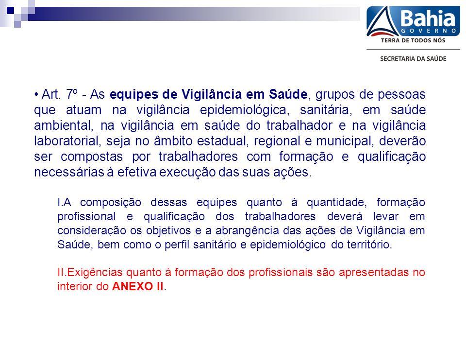 Art. 7º - As equipes de Vigilância em Saúde, grupos de pessoas que atuam na vigilância epidemiológica, sanitária, em saúde ambiental, na vigilância em