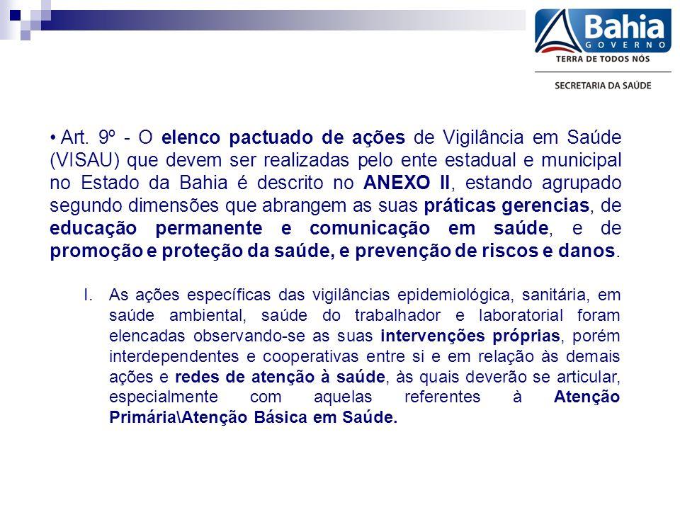 Art. 9º - O elenco pactuado de ações de Vigilância em Saúde (VISAU) que devem ser realizadas pelo ente estadual e municipal no Estado da Bahia é descr