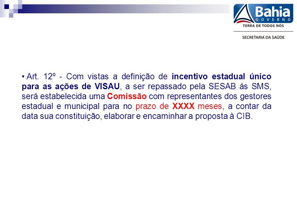 Art. 12º - Com vistas a definição de incentivo estadual único para as ações de VISAU, a ser repassado pela SESAB ás SMS, será estabelecida uma Comissã