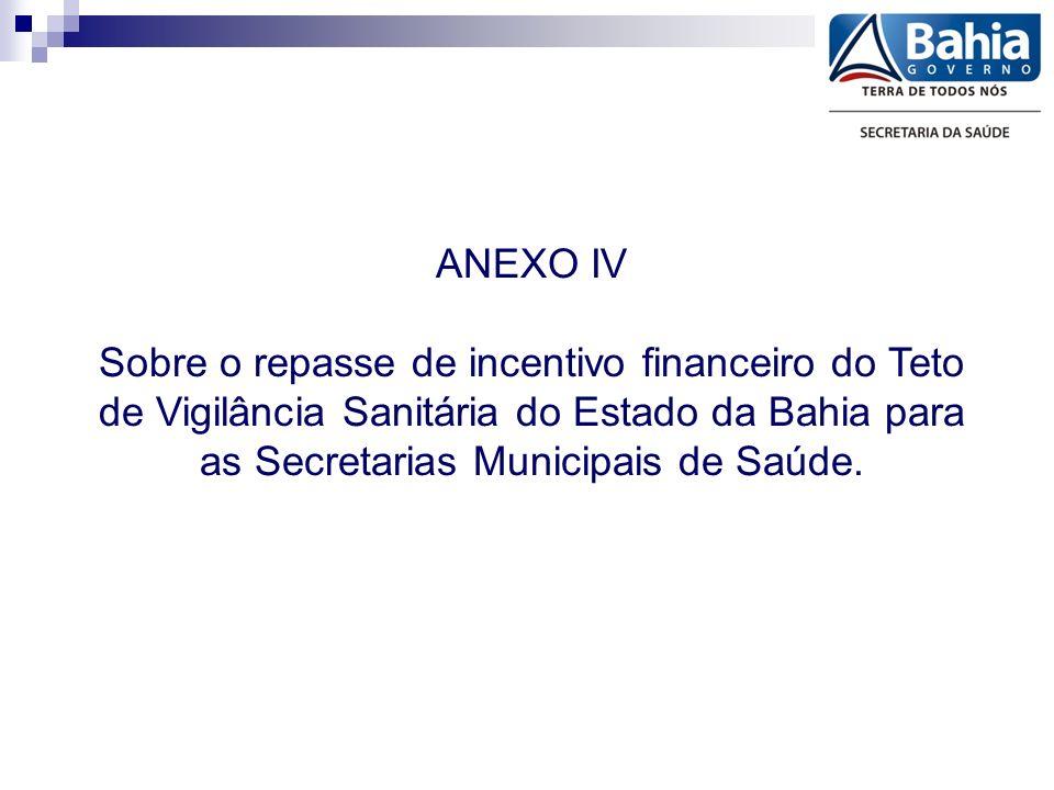 ANEXO IV Sobre o repasse de incentivo financeiro do Teto de Vigilância Sanitária do Estado da Bahia para as Secretarias Municipais de Saúde.