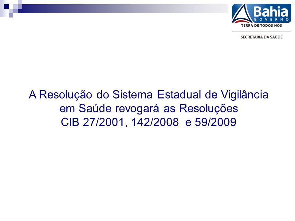 A Resolução do Sistema Estadual de Vigilância em Saúde revogará as Resoluções CIB 27/2001, 142/2008 e 59/2009
