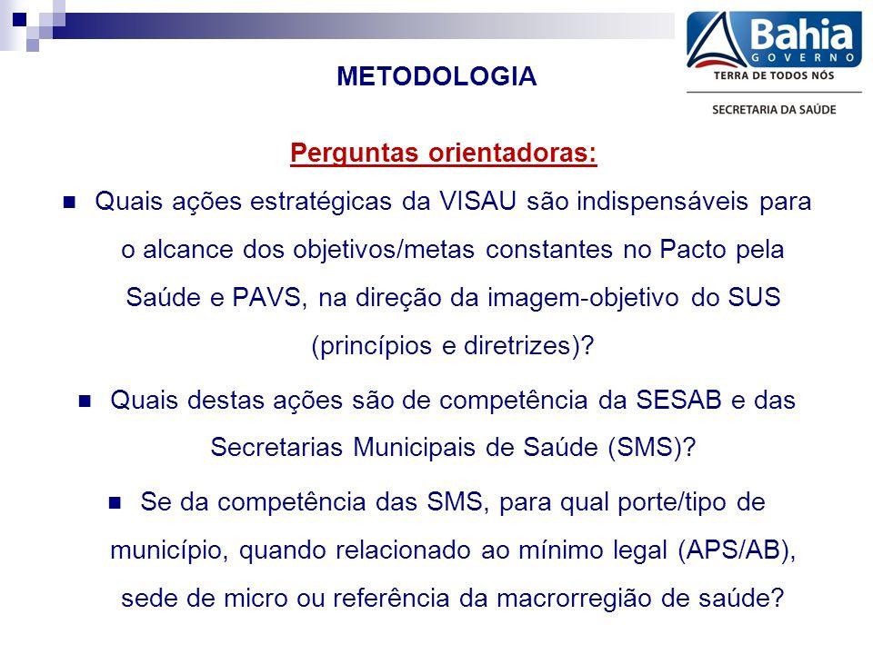 METODOLOGIA Perguntas orientadoras: Quais ações estratégicas da VISAU são indispensáveis para o alcance dos objetivos/metas constantes no Pacto pela Saúde e PAVS, na direção da imagem-objetivo do SUS (princípios e diretrizes).
