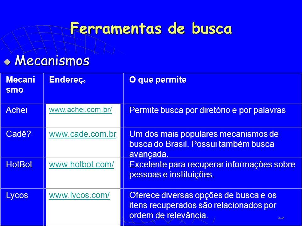 13 Mecanismos Mecanismos Mecani smo Endereç o O que permite Achei www.achei.com.br/ Permite busca por diretório e por palavras Cadê?www.cade.com.brUm