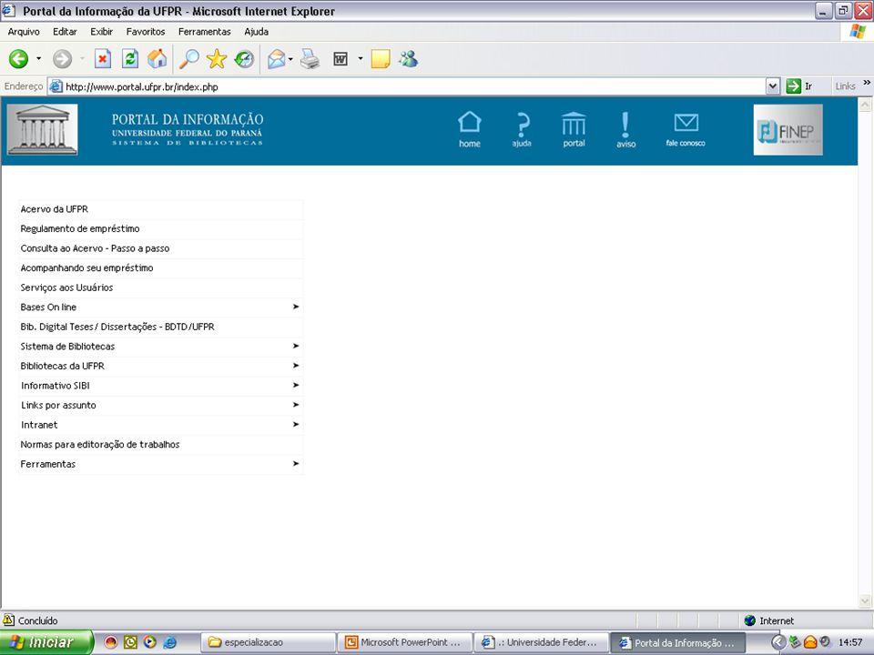 15 São aqueles organizados com temas específicos, permitindo a recuperação de documentos científicos: São aqueles organizados com temas específicos, permitindo a recuperação de documentos científicos: UNICAMPUNICAMP USPUSP UNESPUNESP Sites de bases de dados integradas também de acesso gratuito: Sites de bases de dados integradas também de acesso gratuito: UNIBIBLIWEB, LILACS, EDUBASE, etc.