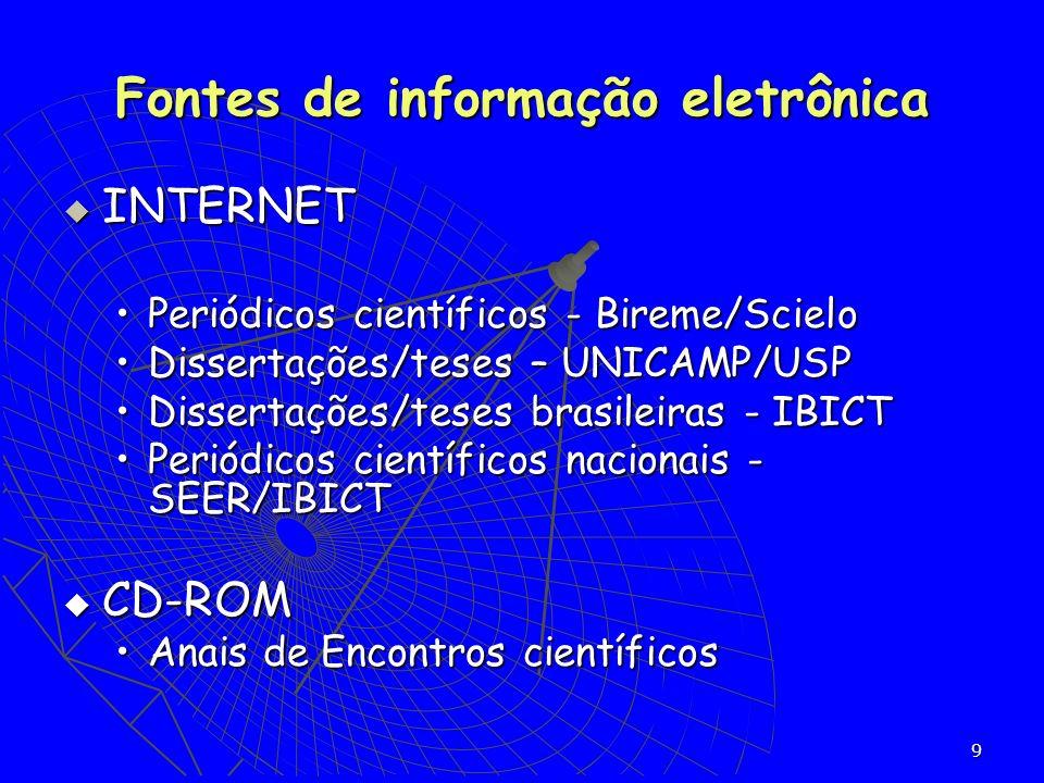 9 INTERNET INTERNET Periódicos científicos - Bireme/ScieloPeriódicos científicos - Bireme/Scielo Dissertações/teses – UNICAMP/USPDissertações/teses –