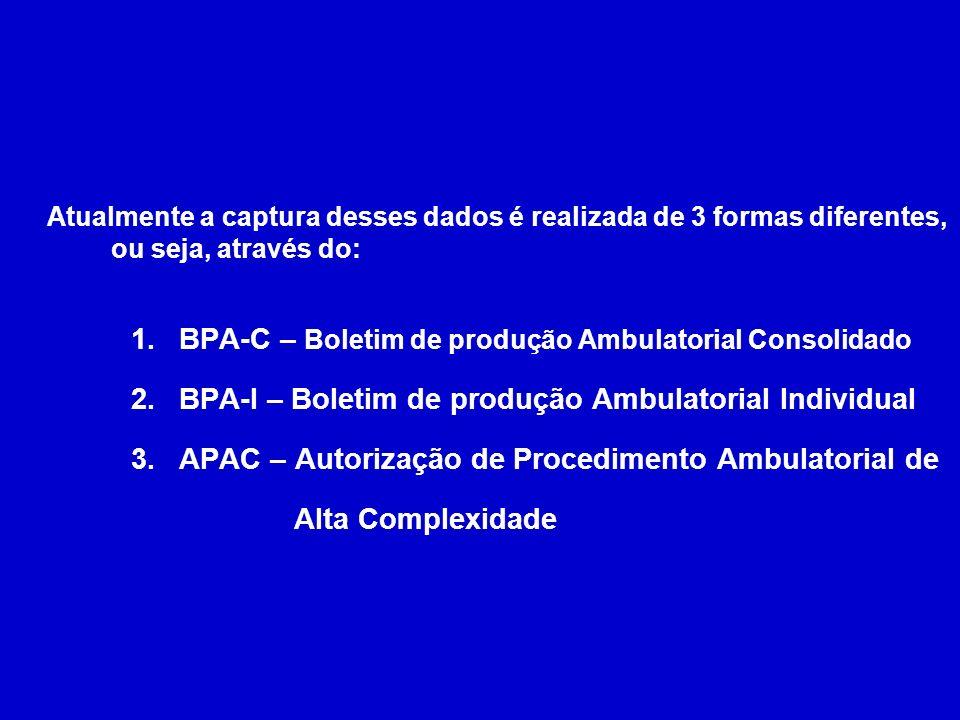 Atualmente a captura desses dados é realizada de 3 formas diferentes, ou seja, através do: 1.BPA-C – Boletim de produção Ambulatorial Consolidado 2.BP