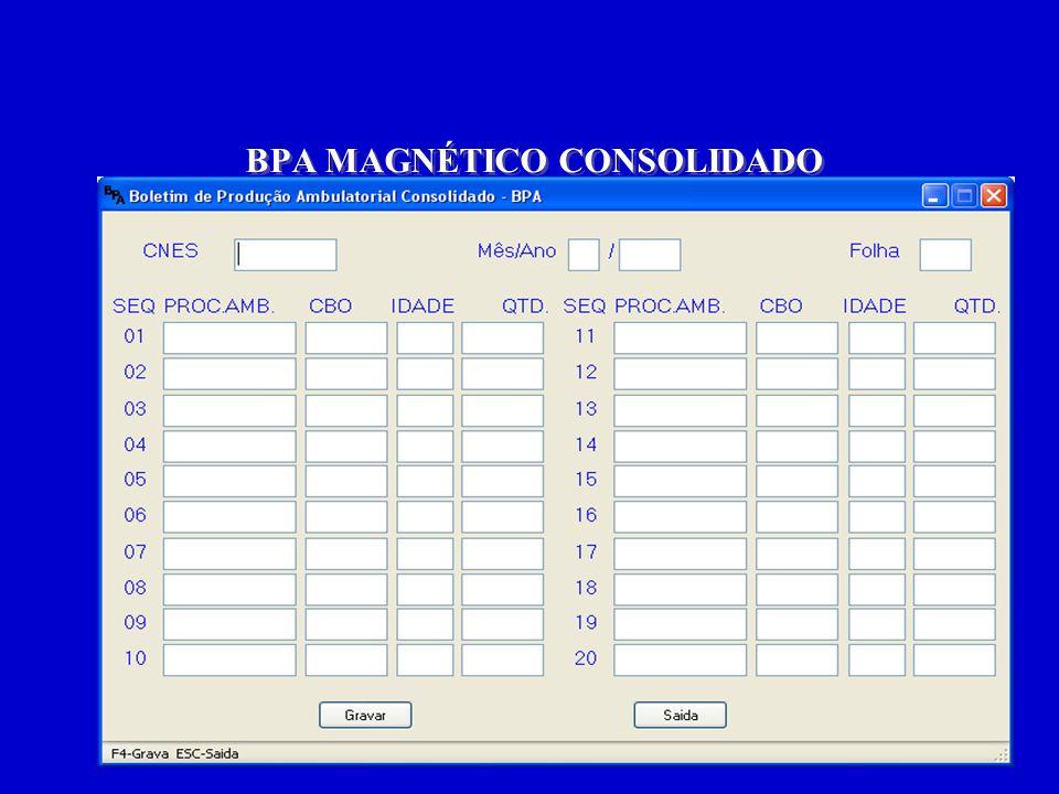 O BPA captura os dados gerais, já consolidados e não individualizados, ou seja, captura apenas: 1.O tipo de procedimento, 2.A especialidade do profissional que o realizou (CBO), 3.A idade (para alguns procedimentos) 4.E a quantidade total realizada.