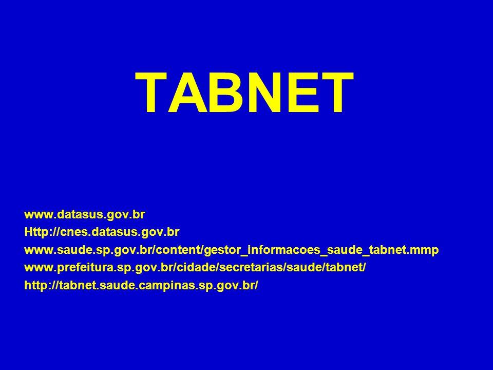 TABNET www.datasus.gov.br Http://cnes.datasus.gov.br www.saude.sp.gov.br/content/gestor_informacoes_saude_tabnet.mmp www.prefeitura.sp.gov.br/cidade/s