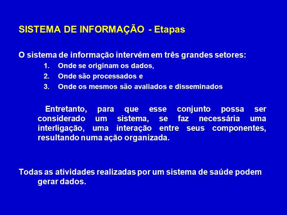 SISTEMA DE INFORMAÇÃO - Etapas Coleta de dados: Geração e o registro de dados devem ser padronizados.