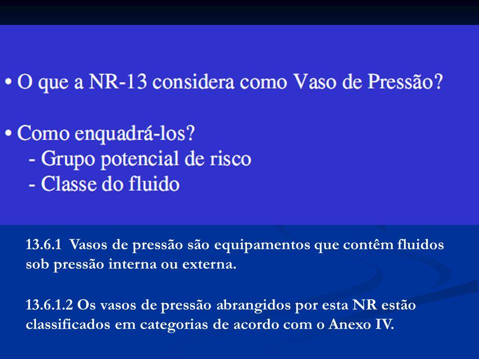 13.6.1 Vasos de pressão são equipamentos que contêm fluidos sob pressão interna ou externa. 13.6.1.2 Os vasos de pressão abrangidos por esta NR estão