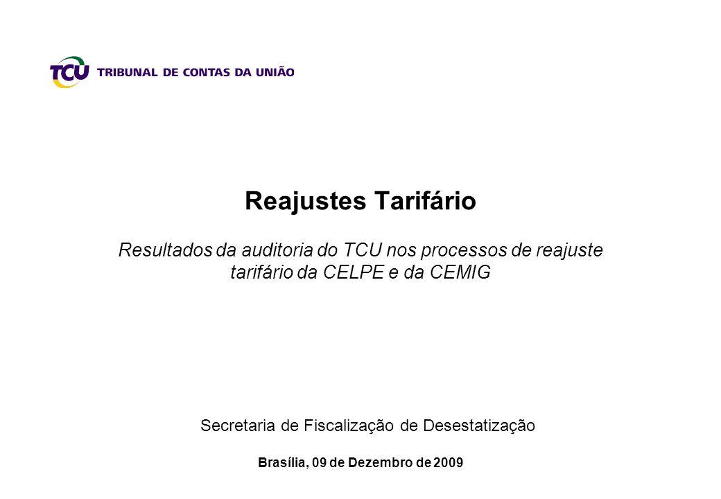 Brasília, 09 de Dezembro de 2009 Secretaria de Fiscalização de Desestatização Reajustes Tarifário Resultados da auditoria do TCU nos processos de reajuste tarifário da CELPE e da CEMIG