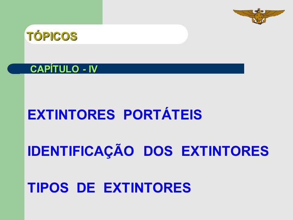TÓPICOS EXTINTORES PORTÁTEIS IDENTIFICAÇÃO DOS EXTINTORES TIPOS DE EXTINTORES CAPÍTULO - IV