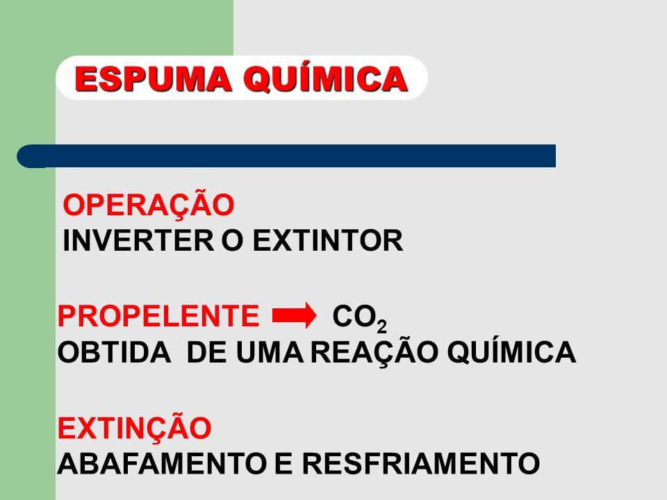 ESPUMA QUÍMICA CILINDRO ÁGUA + BICARBONATO DE SÓDIO + AGENTE ESTABILIZADOR RECIPIENTE DE VIDRO: SULFATO DE ALUMÍNIO