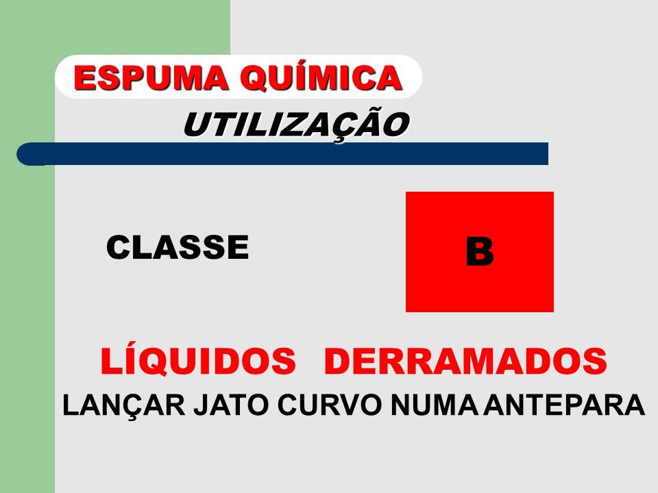 UTILIZAÇÃO CLASSE A JATO DIRIGIDO PARA A BASE DAS CHAMAS. ESPUMA QUÍMICA