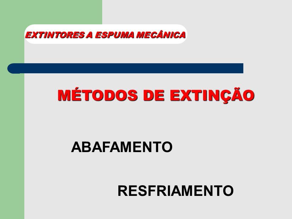 EMPREGO USADOS NAS CLASSES e A B EXTINTORES A ESPUMA MECÂNICA