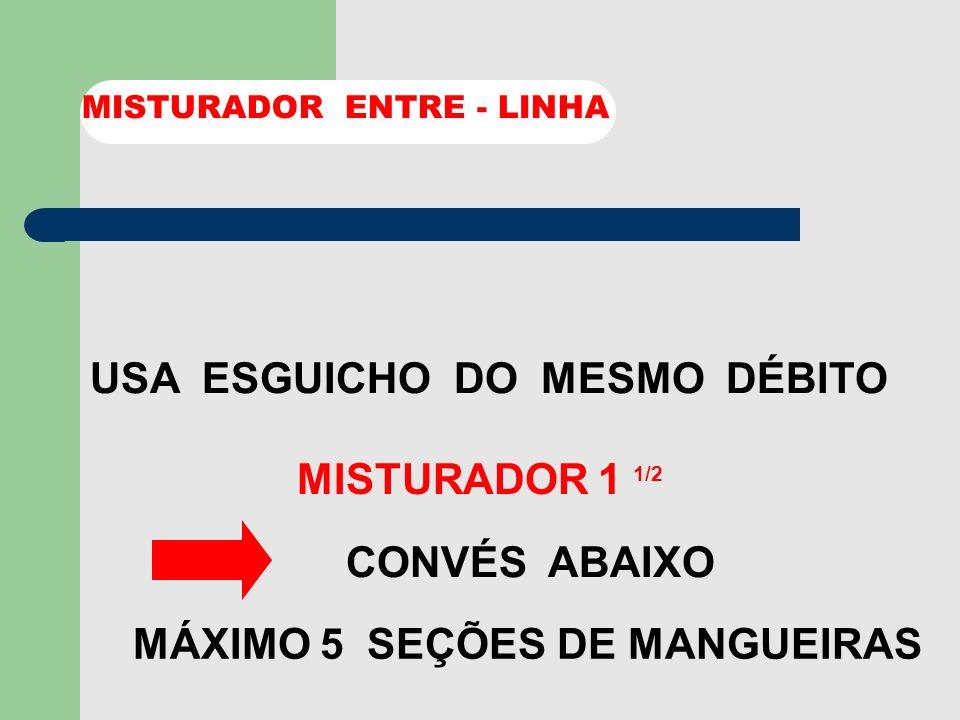 USA ESGUICHO DO MESMO DÉBITO MISTURADOR 1 1/2 MISTURADOR ENTRE - LINHA MÁXIMO 3 SEÇÕES DE MANGUEIRAS ATÉ 1 CONVES ACIMA
