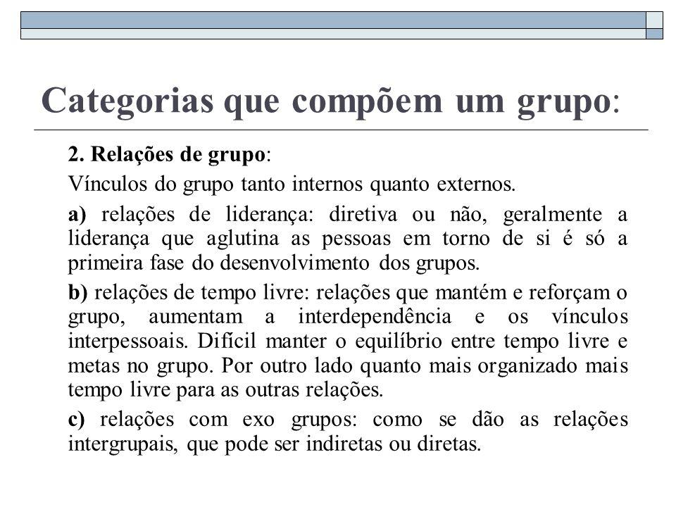 Categorias que compõem um grupo: 2. Relações de grupo: Vínculos do grupo tanto internos quanto externos. a) relações de liderança: diretiva ou não, ge