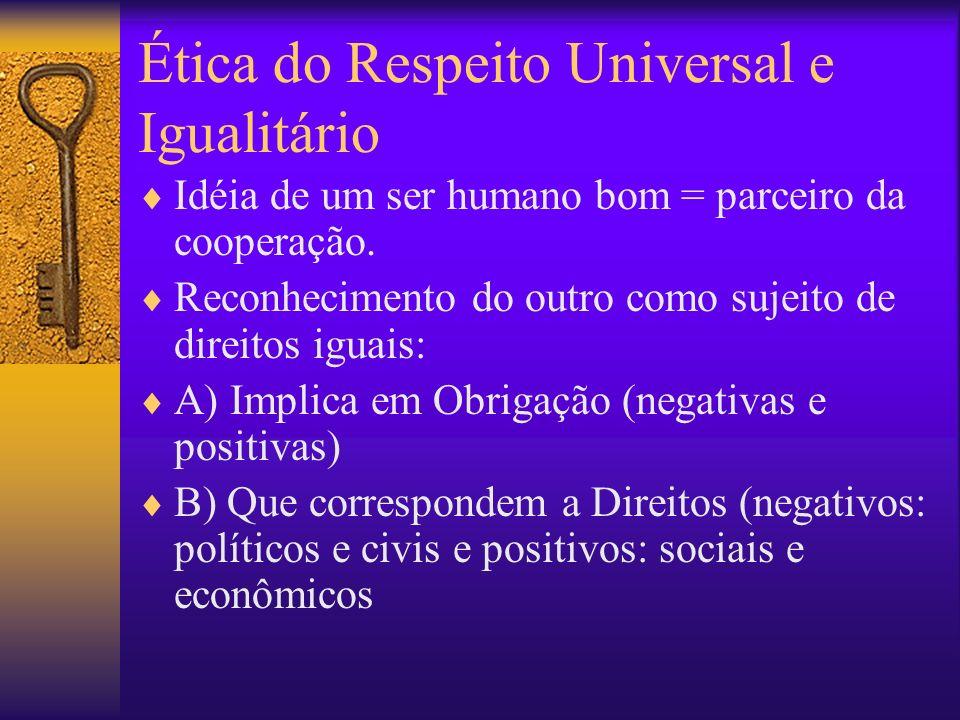 Ética do Respeito Universal e Igualitário Idéia de um ser humano bom = parceiro da cooperação. Reconhecimento do outro como sujeito de direitos iguais