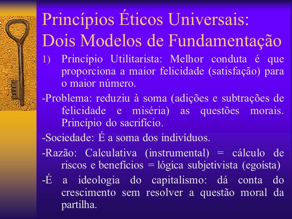 Princípios Éticos Universais: dois modelos de fundamentação 2) Princípio do Imperativo Categórico (kantiano): A conduta moral (melhor conduta) é aquela que pode ser universalizada e que não instrumentaliza ninguém.