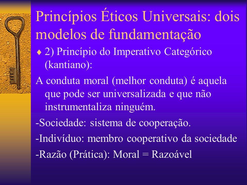 Princípios Éticos Universais: dois modelos de fundamentação 2) Princípio do Imperativo Categórico (kantiano): A conduta moral (melhor conduta) é aquel