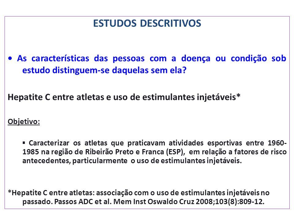 ESTUDOS DESCRITIVOS As características das pessoas com a doença ou condição sob estudo distinguem-se daquelas sem ela? Hepatite C entre atletas e uso