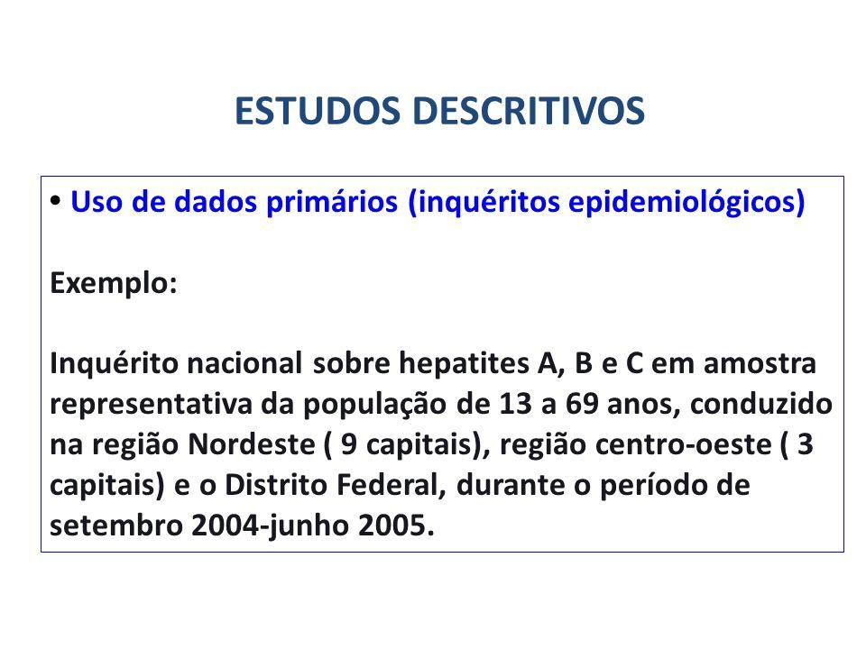 Uso de dados primários (inquéritos epidemiológicos) Exemplo: Inquérito nacional sobre hepatites A, B e C em amostra representativa da população de 13