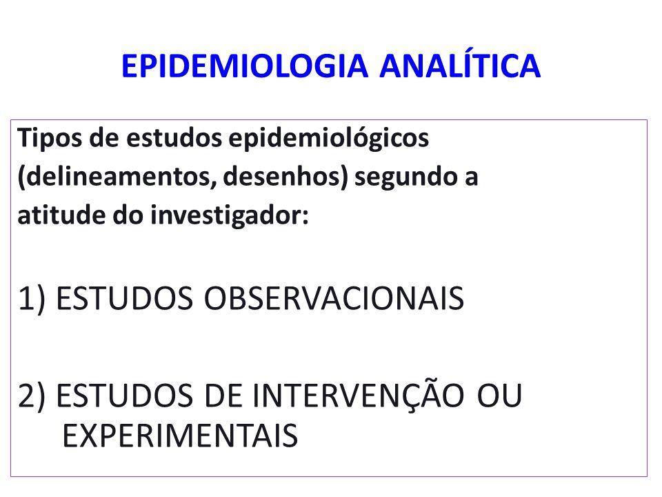 EPIDEMIOLOGIA ANALÍTICA Tipos de estudos epidemiológicos (delineamentos, desenhos) segundo a atitude do investigador: 1) ESTUDOS OBSERVACIONAIS 2) EST