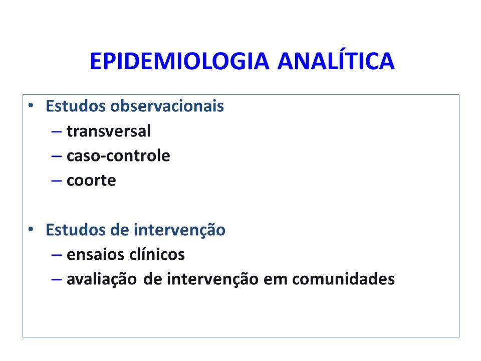 EPIDEMIOLOGIA ANALÍTICA Estudos observacionais – transversal – caso-controle – coorte Estudos de intervenção – ensaios clínicos – avaliação de interve