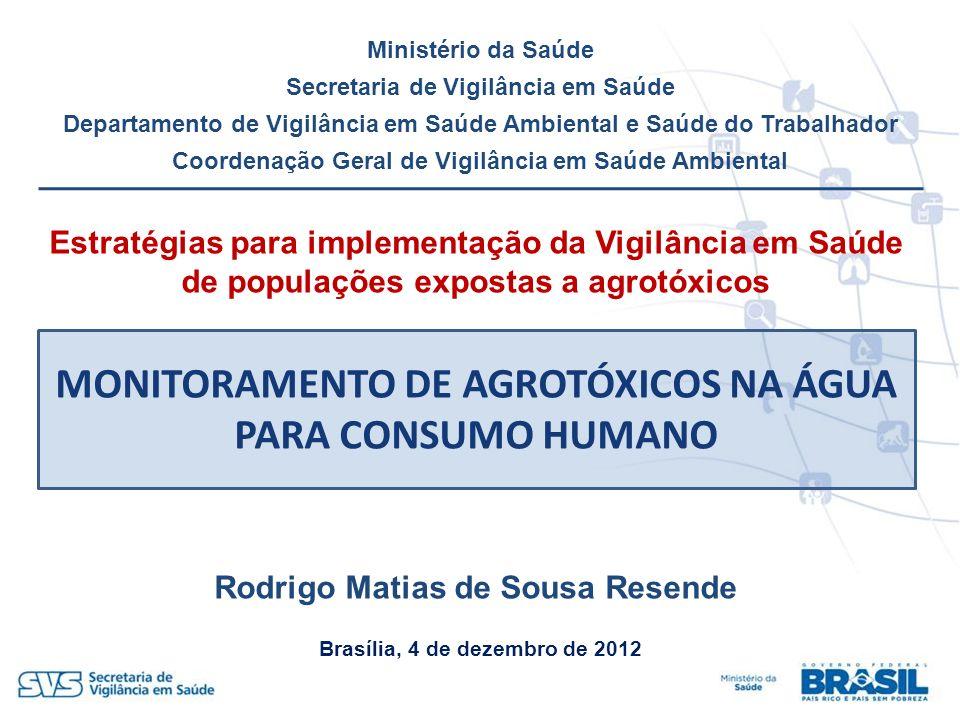 MONITORAMENTO DE AGROTÓXICOS NA ÁGUA PARA CONSUMO HUMANO Ministério da Saúde Secretaria de Vigilância em Saúde Departamento de Vigilância em Saúde Amb