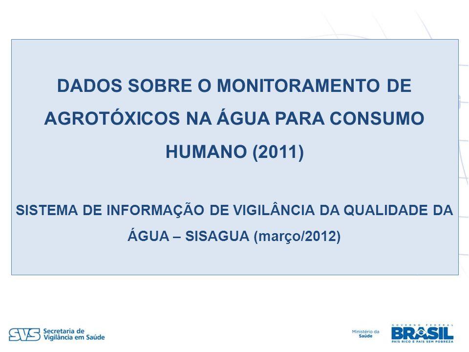 DADOS SOBRE O MONITORAMENTO DE AGROTÓXICOS NA ÁGUA PARA CONSUMO HUMANO (2011) SISTEMA DE INFORMAÇÃO DE VIGILÂNCIA DA QUALIDADE DA ÁGUA – SISAGUA (març