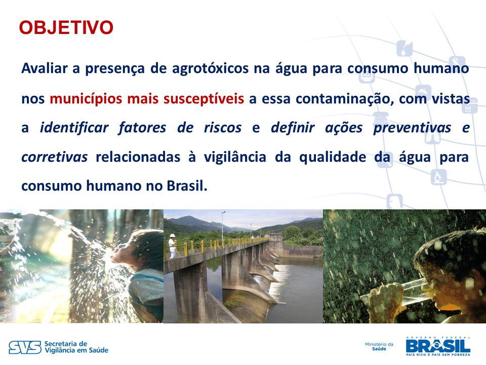 OBJETIVO Avaliar a presença de agrotóxicos na água para consumo humano nos municípios mais susceptíveis a essa contaminação, com vistas a identificar