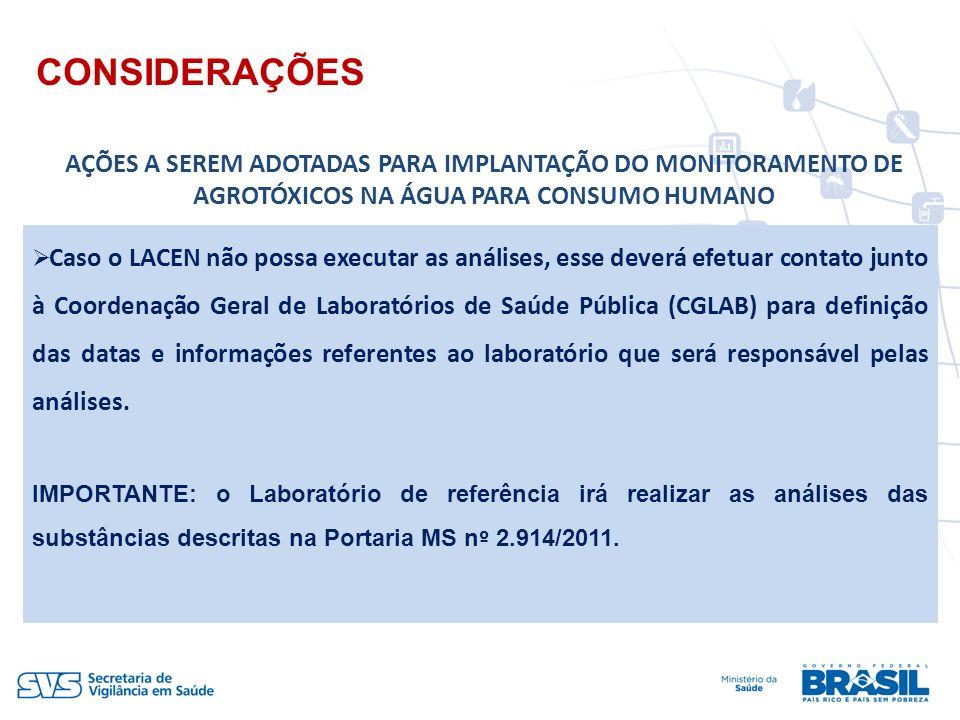 Caso o LACEN não possa executar as análises, esse deverá efetuar contato junto à Coordenação Geral de Laboratórios de Saúde Pública (CGLAB) para defin